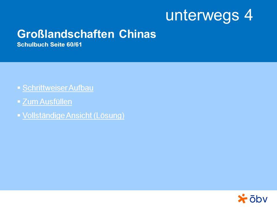unterwegs 4 Großlandschaften Chinas Schulbuch Seite 60/61 Schrittweiser Aufbau Zum Ausfüllen Vollständige Ansicht (Lösung)