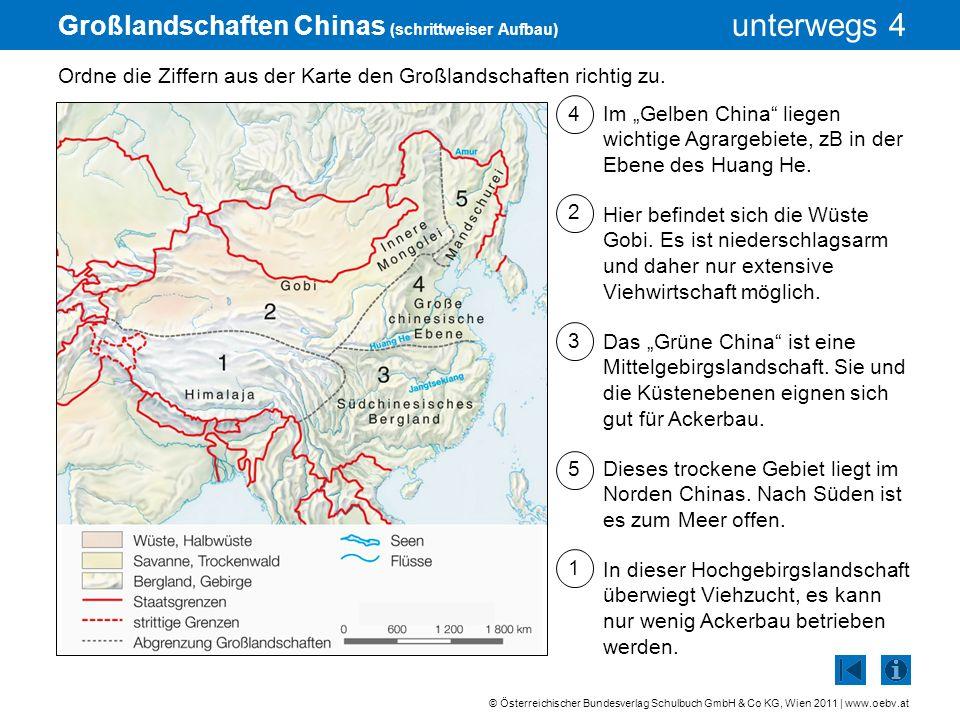 © Österreichischer Bundesverlag Schulbuch GmbH & Co KG, Wien 2011 | www.oebv.at unterwegs 4 Großlandschaften Chinas (schrittweiser Aufbau) Ordne die Z