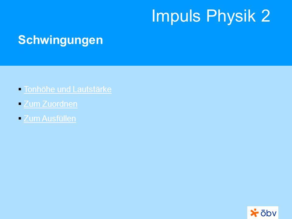 © Österreichischer Bundesverlag Schulbuch GmbH & Co KG | www.oebv.at Impuls Physik 2 Schwingungen Lautstärke Die Lautstärke eines Tons hängt von der Schwingungsweite (Amplitude) ab.