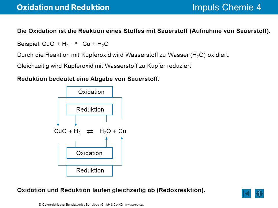 © Österreichischer Bundesverlag Schulbuch GmbH & Co KG | www.oebv.at Impuls Chemie 4 Oxidation und Reduktion Die Oxidation ist die Reaktion eines Stof