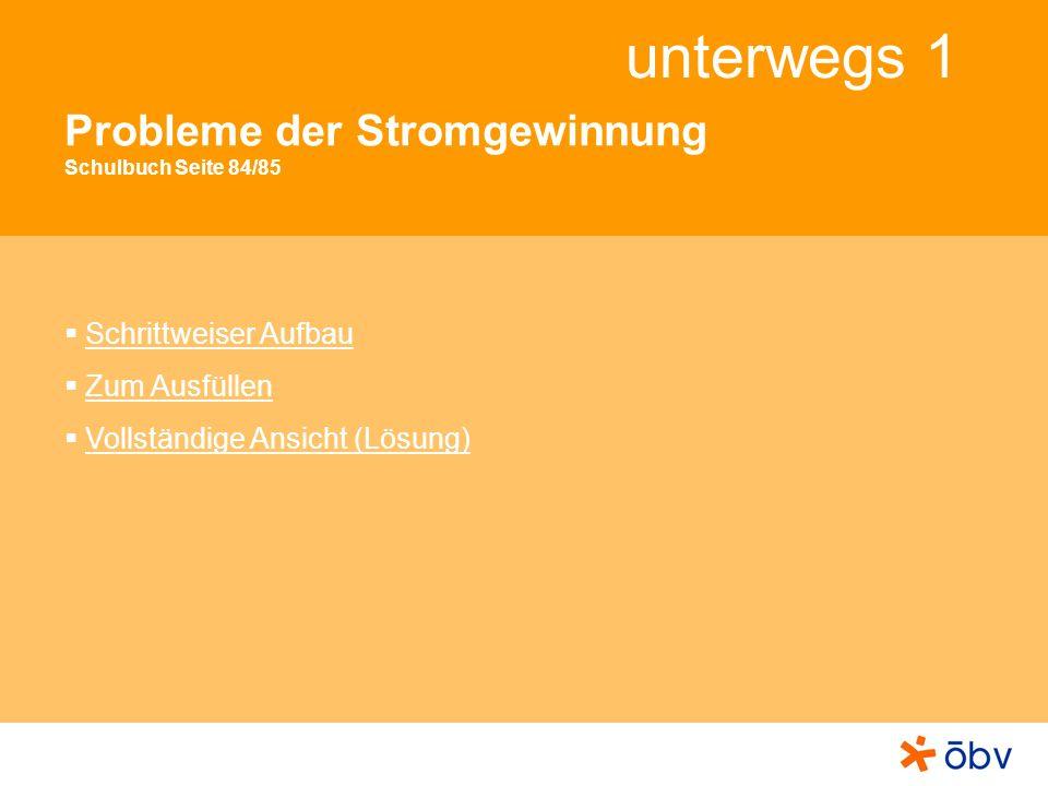 © Österreichischer Bundesverlag Schulbuch GmbH & Co KG, Wien 2011 | www.oebv.at unterwegs 1 Probleme der Stromgewinnung (schrittweiser Aufbau) 1 2 4 3 Starkstromleitungen durchziehen die Landschaft.
