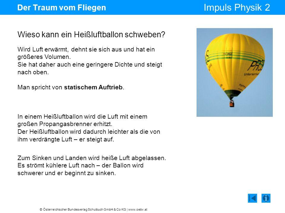 © Österreichischer Bundesverlag Schulbuch GmbH & Co KG | www.oebv.at Impuls Physik 2 Der Traum vom Fliegen Wird Luft erwärmt, dehnt sie sich aus und hat ein größeres Volumen.