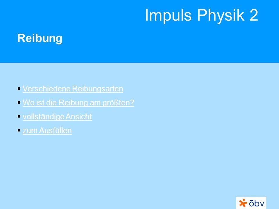 Impuls Physik 2 Reibung Verschiedene Reibungsarten Wo ist die Reibung am größten? vollständige Ansicht zum Ausfüllen