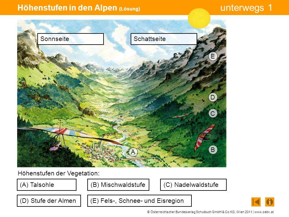 © Österreichischer Bundesverlag Schulbuch GmbH & Co KG, Wien 2011 | www.oebv.at unterwegs 1 Höhenstufen in den Alpen (Lösung) (A) Talsohle (D) Stufe d