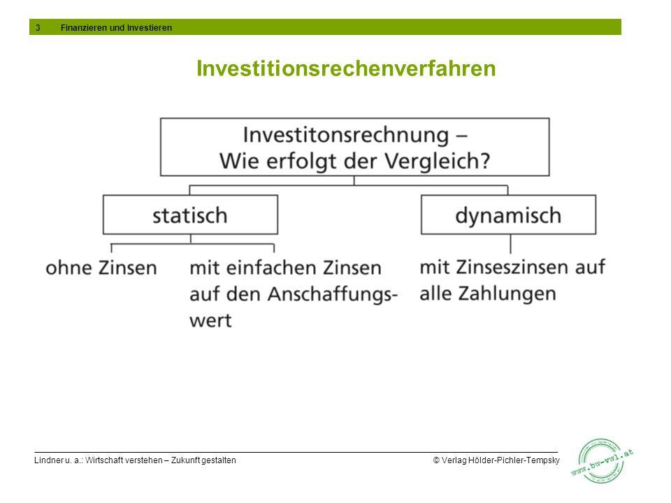 Lindner u. a.: Wirtschaft verstehen – Zukunft gestalten © Verlag Hölder-Pichler-Tempsky Investitionsrechenverfahren 3Finanzieren und Investieren