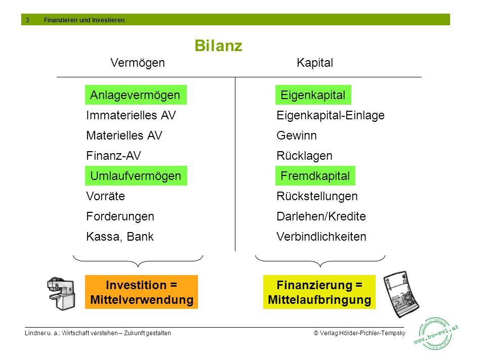 Lindner u. a.: Wirtschaft verstehen – Zukunft gestalten © Verlag Hölder-Pichler-Tempsky Bilanz Anlagevermögen Immaterielles AV Investition = Mittelver