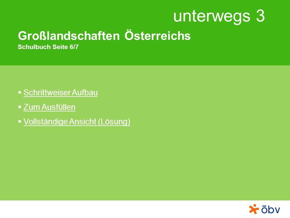 unterwegs 3 Großlandschaften Österreichs Schulbuch Seite 6/7 Schrittweiser Aufbau Zum Ausfüllen Vollständige Ansicht (Lösung)
