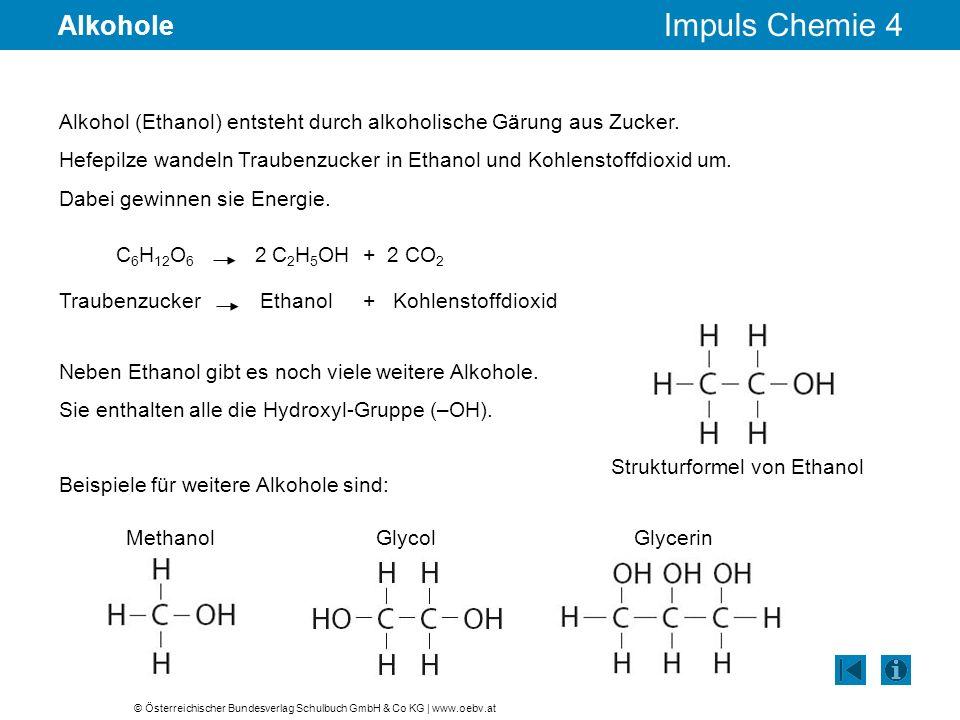© Österreichischer Bundesverlag Schulbuch GmbH & Co KG | www.oebv.at Impuls Chemie 4 Alkohole Alkohol (Ethanol) entsteht durch alkoholische Gärung aus Zucker.