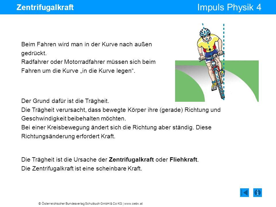 © Österreichischer Bundesverlag Schulbuch GmbH & Co KG | www.oebv.at Impuls Physik 4 Zentrifugalkraft Beim Fahren wird man in der Kurve nach außen gedrückt.