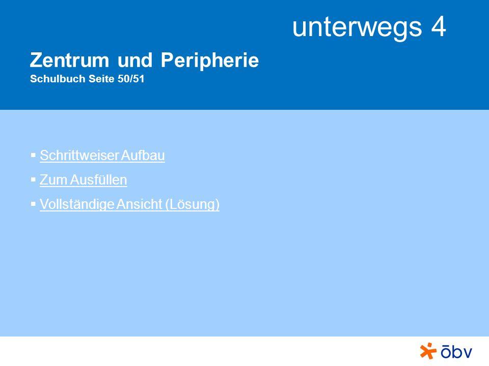 © Österreichischer Bundesverlag Schulbuch GmbH & Co KG, Wien 2011 | www.oebv.at unterwegs 4 Zentrum und Peripherie (schrittweiser Aufbau) Ordne zu: Welche Begriffe beschreiben Zentren, welche die Peripherie.