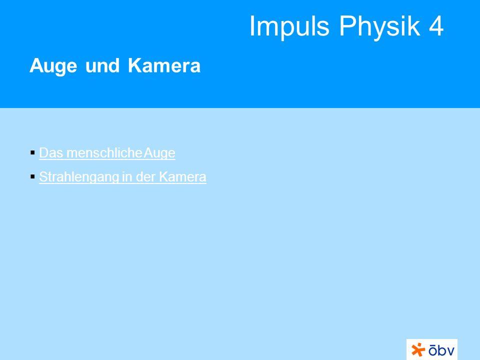 Impuls Physik 4 Auge und Kamera Das menschliche Auge Strahlengang in der Kamera