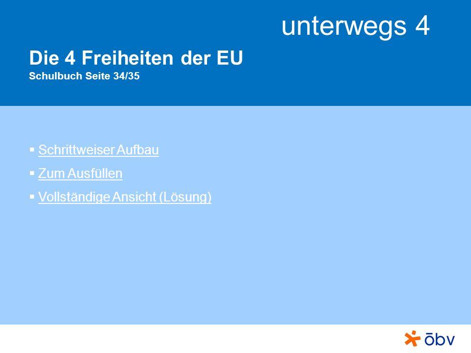 unterwegs 4 Die 4 Freiheiten der EU Schulbuch Seite 34/35 Schrittweiser Aufbau Zum Ausfüllen Vollständige Ansicht (Lösung)