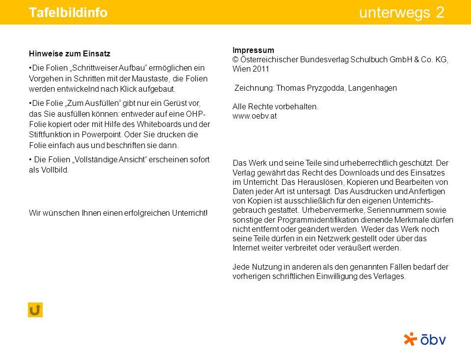 © Österreichischer Bundesverlag Schulbuch GmbH & Co KG, Wien 2011 | www.oebv.at unterwegs 2 Tafelbildinfo Impressum © Österreichischer Bundesverlag Schulbuch GmbH & Co.