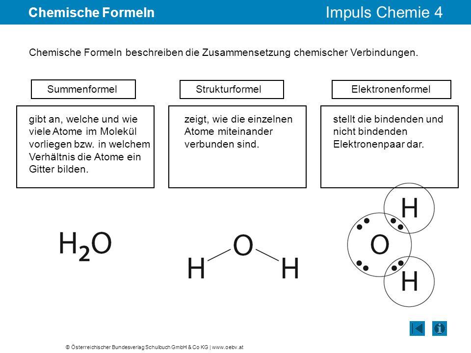 © Österreichischer Bundesverlag Schulbuch GmbH & Co KG | www.oebv.at Impuls Chemie 4 Chemische Formeln Chemische Formeln beschreiben die Zusammensetzu
