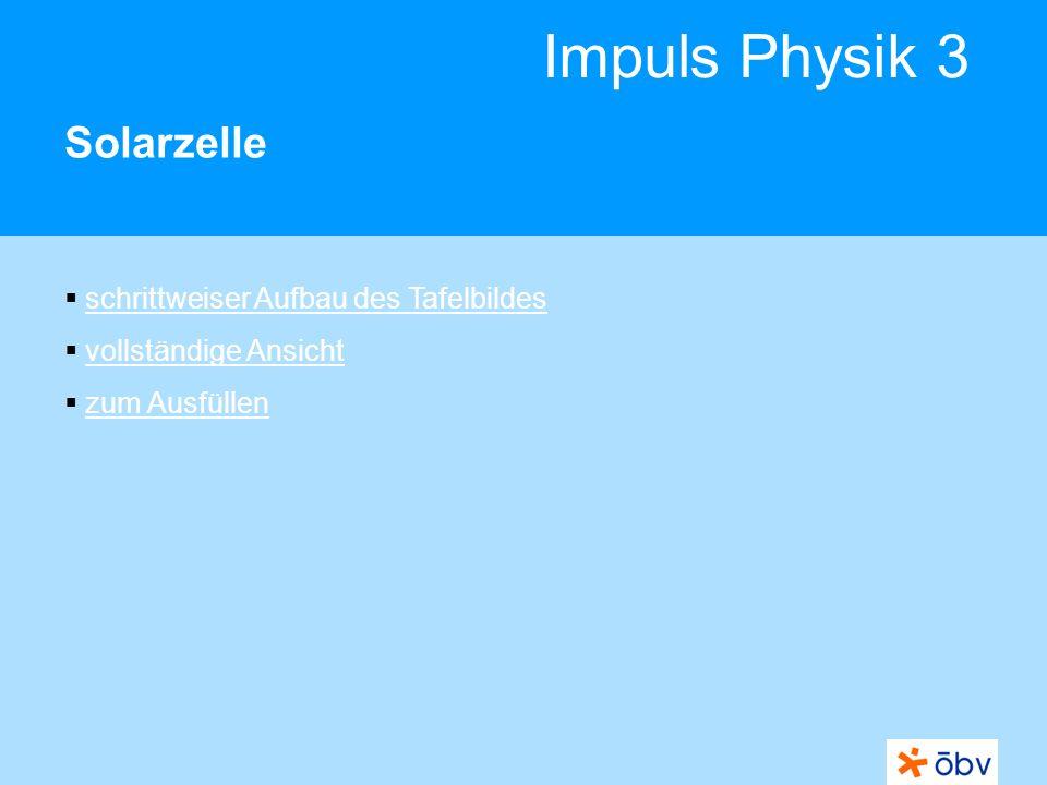 Impuls Physik 3 Solarzelle schrittweiser Aufbau des Tafelbildes vollständige Ansicht zum Ausfüllen