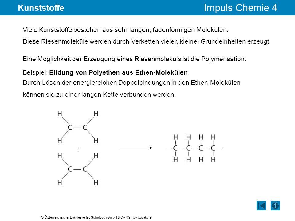 © Österreichischer Bundesverlag Schulbuch GmbH & Co KG | www.oebv.at Impuls Chemie 4 Kunststoffe Viele Kunststoffe bestehen aus sehr langen, fadenförm