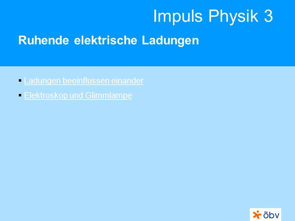Impuls Physik 3 Ruhende elektrische Ladungen Ladungen beeinflussen einander Elektroskop und Glimmlampe