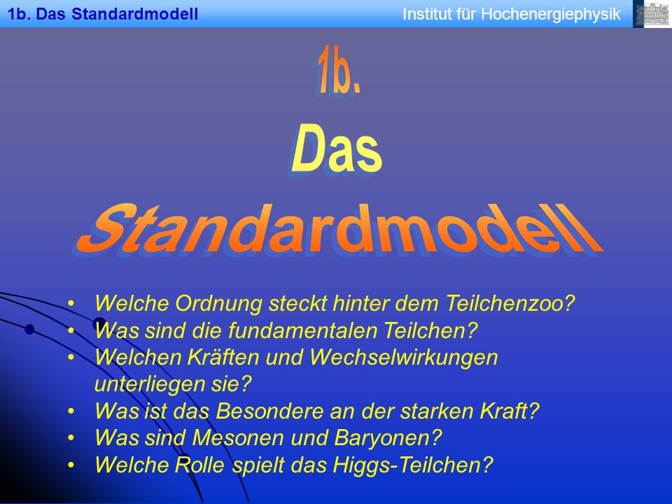 Institut für Hochenergiephysik1b.Das Standardmodell Welche Ordnung steckt hinter dem Teilchenzoo.