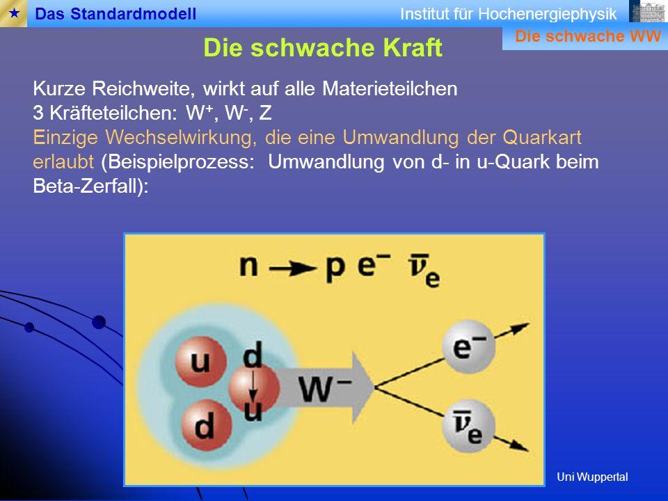 Institut für Hochenergiephysik Die schwache Kraft Das Standardmodell Kurze Reichweite, wirkt auf alle Materieteilchen 3 Kräfteteilchen: W +, W -, Z Einzige Wechselwirkung, die eine Umwandlung der Quarkart erlaubt (Beispielprozess: Umwandlung von d- in u-Quark beim Beta-Zerfall): Die schwache WW Uni Wuppertal