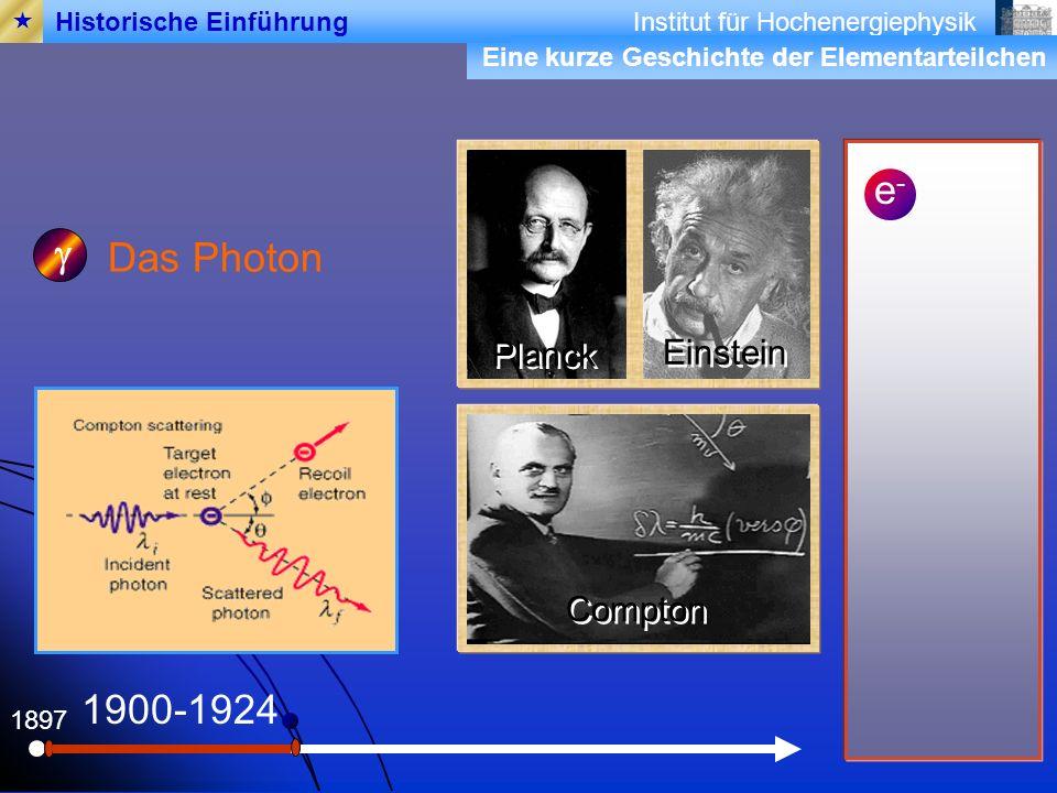 Institut für Hochenergiephysik Eine kurze Geschichte der Elementarteilchen 1897 Das Photon 1900-1924 Planck Einstein Compton Historische Einführung e-e-