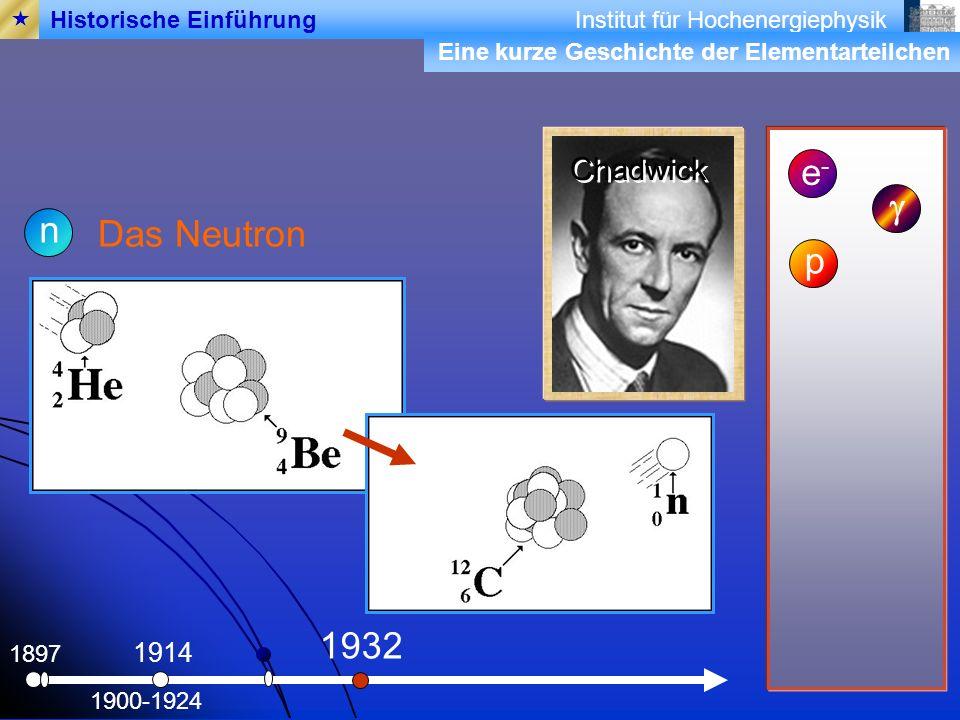 Institut für Hochenergiephysik 1897 Das Neutron e-e- 1900-1924 1914 n p 1932 Chadwick Historische Einführung Eine kurze Geschichte der Elementarteilchen