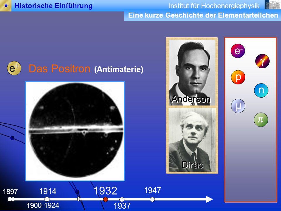 Institut für Hochenergiephysik 1897 Das Positron (Antimaterie) e-e- 1900-1924 1914 e+e+ p 1932 n 1937 µ 1947 Anderson Dirac Historische Einführung Eine kurze Geschichte der Elementarteilchen