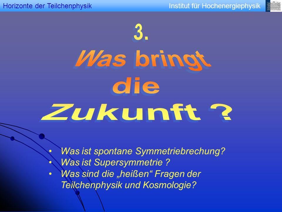 Institut für HochenergiephysikHorizonte der Teilchenphysik Was ist spontane Symmetriebrechung? Was ist Supersymmetrie ? Was sind die heißen Fragen der
