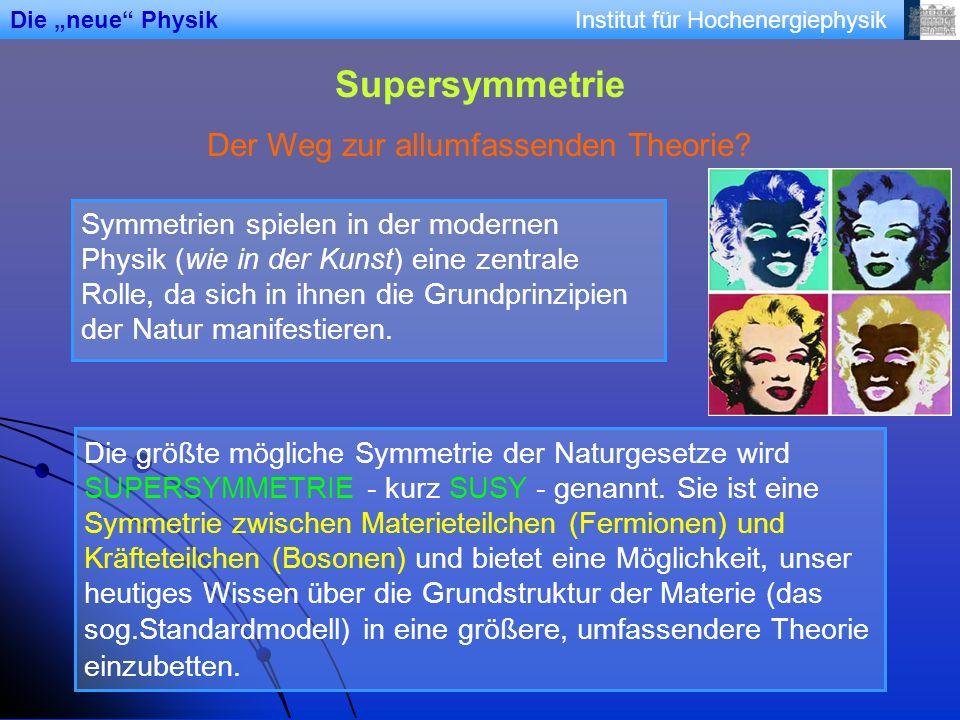 Institut für Hochenergiephysik Supersymmetrie Der Weg zur allumfassenden Theorie? Symmetrien spielen in der modernen Physik (wie in der Kunst) eine ze