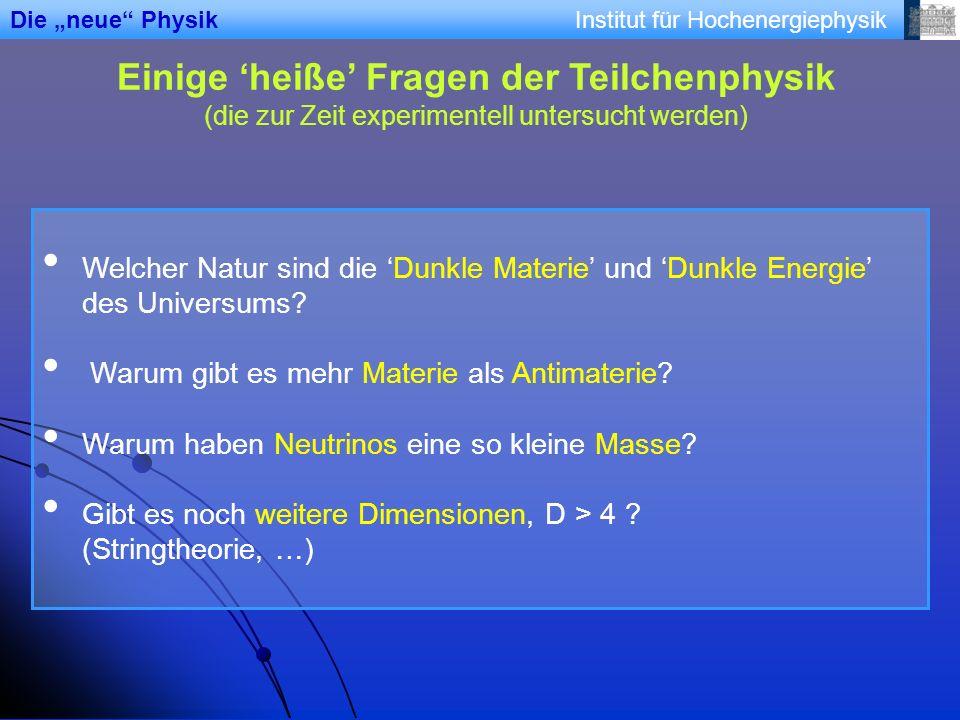 Institut für Hochenergiephysik Einige heiße Fragen der Teilchenphysik (die zur Zeit experimentell untersucht werden) Welcher Natur sind die Dunkle Mat