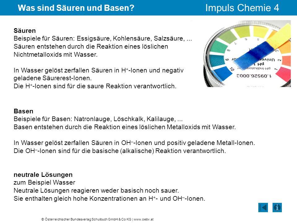 © Österreichischer Bundesverlag Schulbuch GmbH & Co KG | www.oebv.at Impuls Chemie 4 Was sind Säuren und Basen? Säuren Beispiele für Säuren: Essigsäur