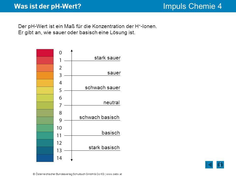© Österreichischer Bundesverlag Schulbuch GmbH & Co KG | www.oebv.at Impuls Chemie 4 Was ist der pH-Wert? Der pH-Wert ist ein Maß für die Konzentratio