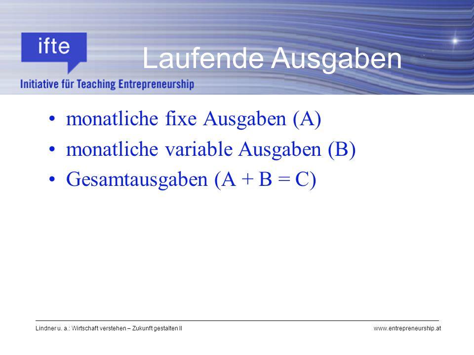 Lindner u. a.: Wirtschaft verstehen – Zukunft gestalten II www.entrepreneurship.at Laufende Ausgaben monatliche fixe Ausgaben (A) monatliche variable