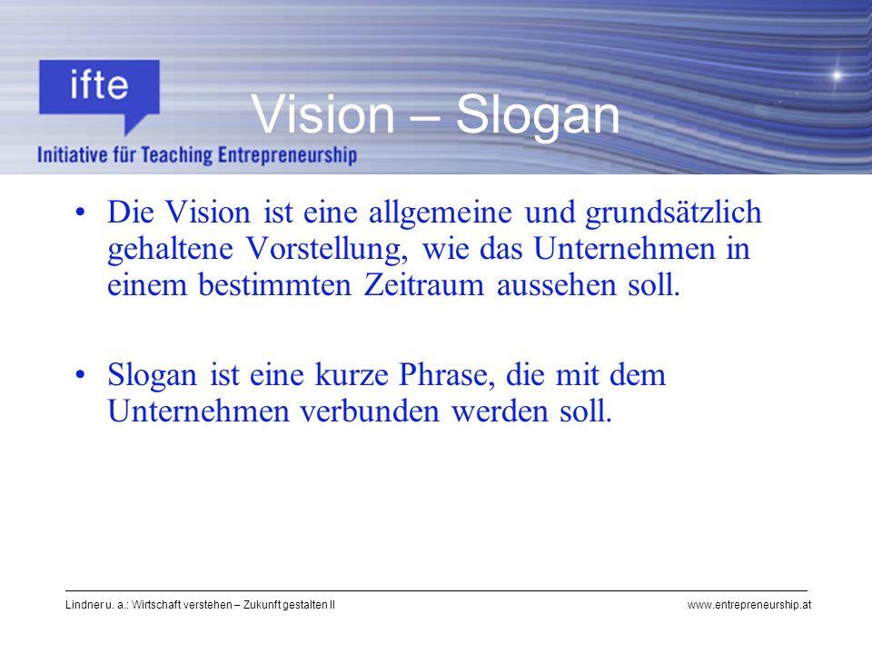 Lindner u. a.: Wirtschaft verstehen – Zukunft gestalten II www.entrepreneurship.at Vision – Slogan Die Vision ist eine allgemeine und grundsätzlich ge