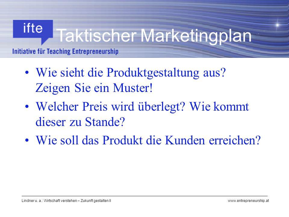 Lindner u. a.: Wirtschaft verstehen – Zukunft gestalten II www.entrepreneurship.at Wie sieht die Produktgestaltung aus? Zeigen Sie ein Muster! Welcher