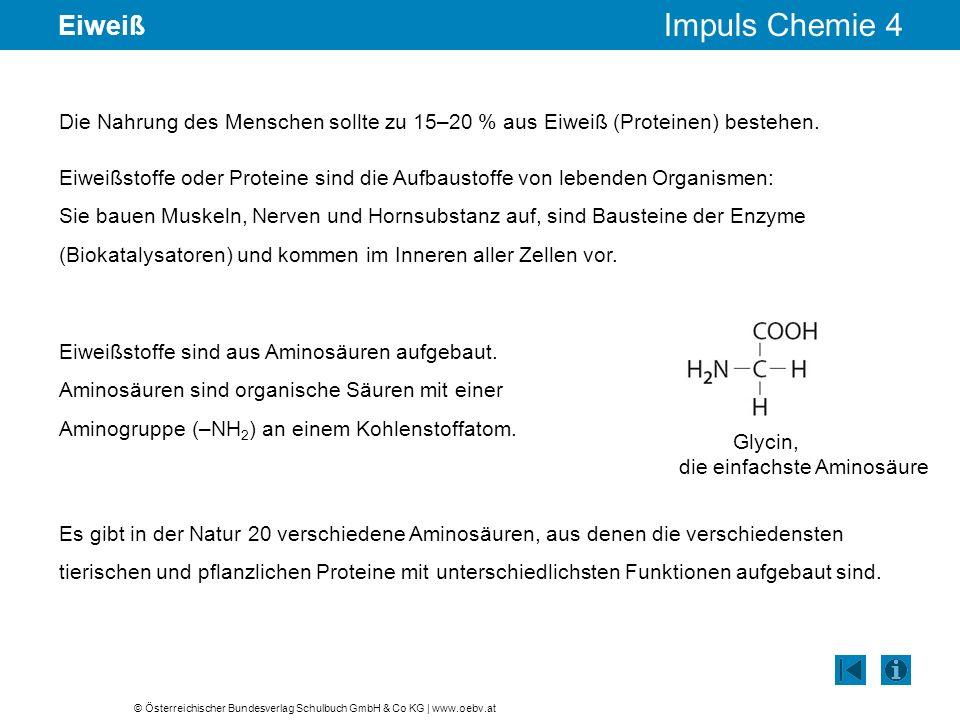 © Österreichischer Bundesverlag Schulbuch GmbH & Co KG | www.oebv.at Impuls Chemie 4 Eiweiß Die Nahrung des Menschen sollte zu 15–20 % aus Eiweiß (Pro