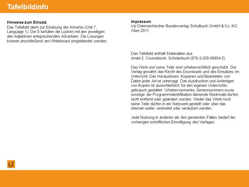 © Österreichischer Bundesverlag Schulbuch GmbH & Co. KG, Wien 2011 | www.oebv.at Hinweise zum Einsatz Das Tafelbild dient zur Einübung der Adverbs (Un