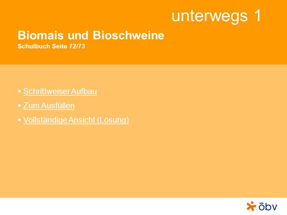 unterwegs 1 Biomais und Bioschweine Schulbuch Seite 72/73 Schrittweiser Aufbau Zum Ausfüllen Vollständige Ansicht (Lösung)