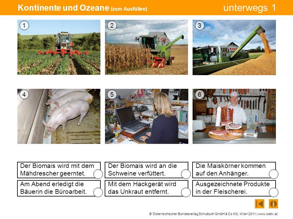 © Österreichischer Bundesverlag Schulbuch GmbH & Co KG, Wien 2011 | www.oebv.at unterwegs 1 Kontinente und Ozeane (zum Ausfüllen) Der Biomais wird mit
