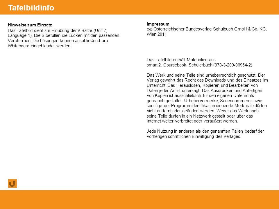 © Österreichischer Bundesverlag Schulbuch GmbH & Co. KG, Wien 2011   www.oebv.at Hinweise zum Einsatz Das Tafelbild dient zur Einübung der if-Sätze (U