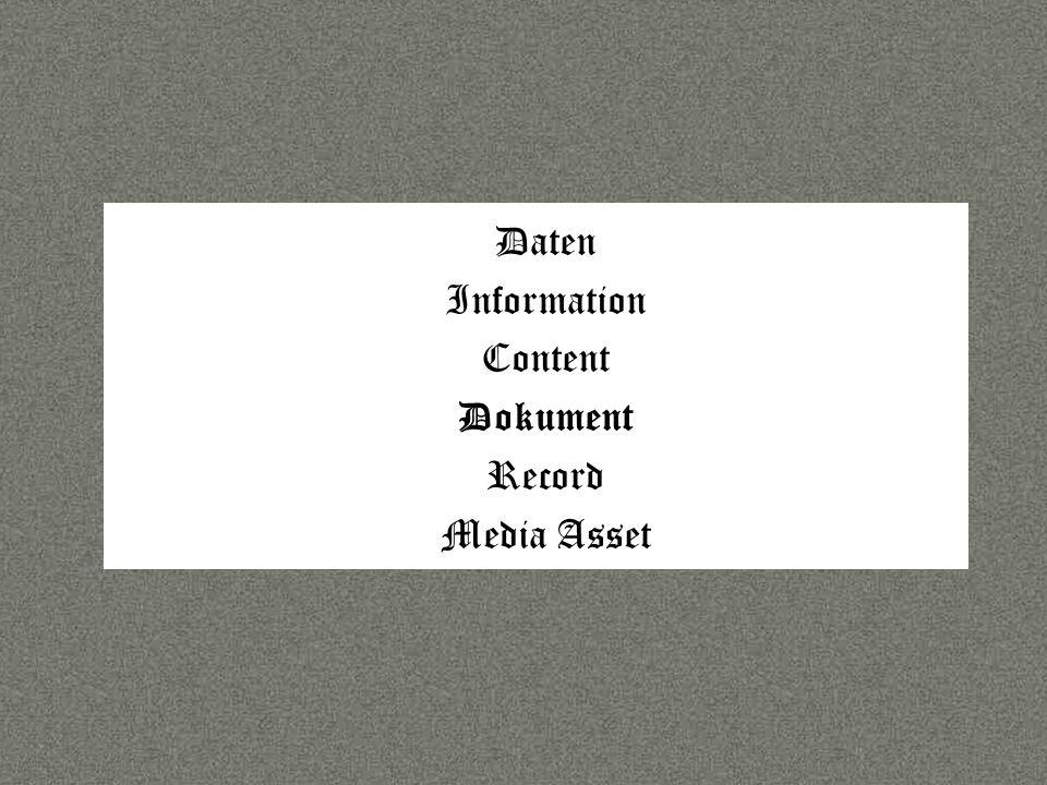 Sprache Daten Information Content Dokument Record Media Asset