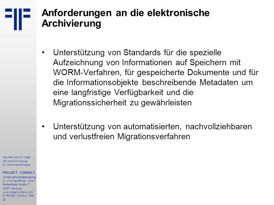 23 Anforderungen an die elektronische Archivierung Unterstützung von Standards für die spezielle Aufzeichnung von Informationen auf Speichern mit WORM