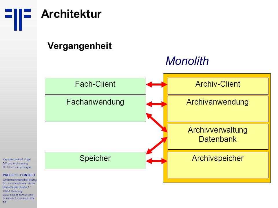 35 Keynote Looks & Vogel DM und Archivierung Dr. Ulrich Kampffmeyer PROJECT CONSULT Unternehmensberatung Dr. Ulrich Kampffmeyer GmbH Breitenfelder Str