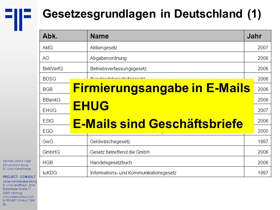 62 Keynote Looks & Vogel DM und Archivierung Dr. Ulrich Kampffmeyer PROJECT CONSULT Unternehmensberatung Dr. Ulrich Kampffmeyer GmbH Breitenfelder Str