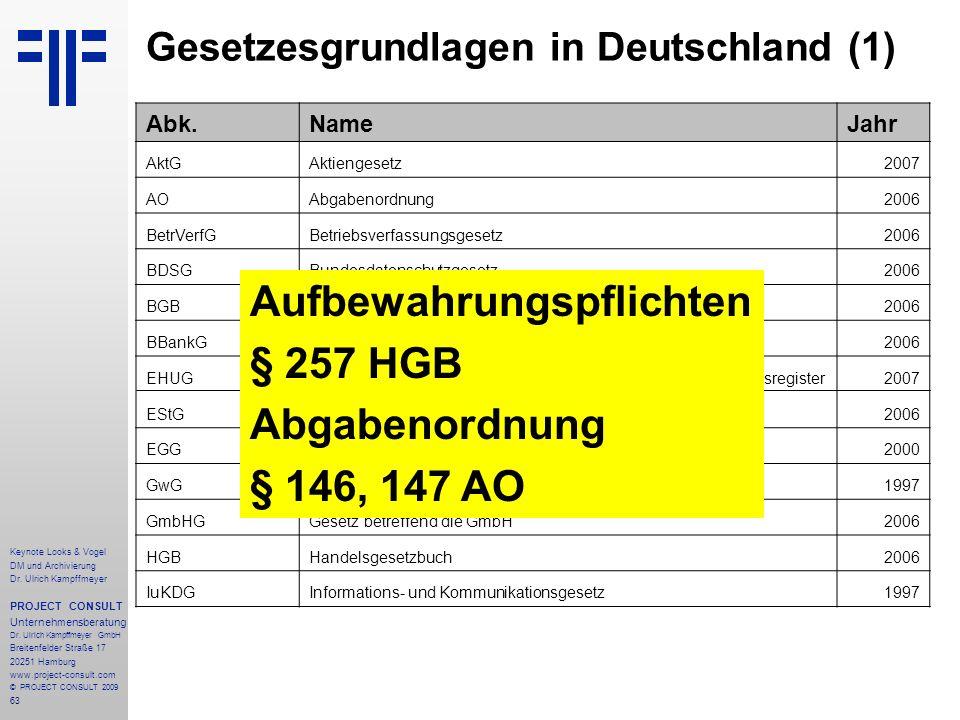 63 Keynote Looks & Vogel DM und Archivierung Dr. Ulrich Kampffmeyer PROJECT CONSULT Unternehmensberatung Dr. Ulrich Kampffmeyer GmbH Breitenfelder Str