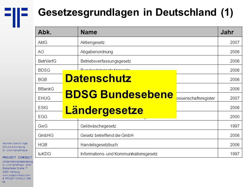64 Keynote Looks & Vogel DM und Archivierung Dr. Ulrich Kampffmeyer PROJECT CONSULT Unternehmensberatung Dr. Ulrich Kampffmeyer GmbH Breitenfelder Str