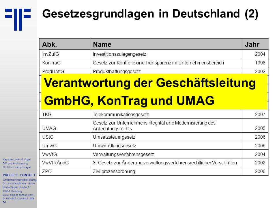 66 Keynote Looks & Vogel DM und Archivierung Dr. Ulrich Kampffmeyer PROJECT CONSULT Unternehmensberatung Dr. Ulrich Kampffmeyer GmbH Breitenfelder Str