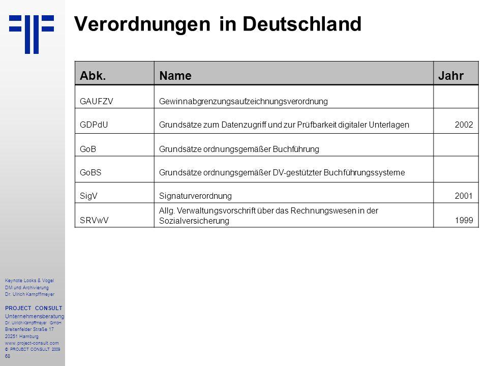 68 Keynote Looks & Vogel DM und Archivierung Dr. Ulrich Kampffmeyer PROJECT CONSULT Unternehmensberatung Dr. Ulrich Kampffmeyer GmbH Breitenfelder Str