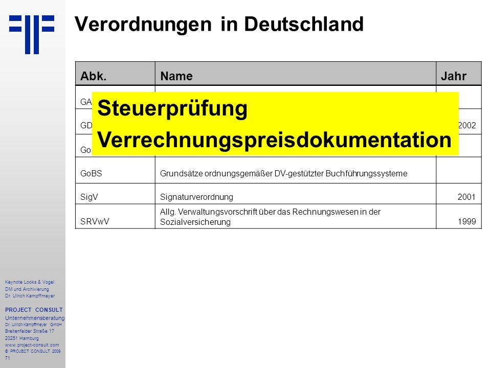 71 Keynote Looks & Vogel DM und Archivierung Dr. Ulrich Kampffmeyer PROJECT CONSULT Unternehmensberatung Dr. Ulrich Kampffmeyer GmbH Breitenfelder Str