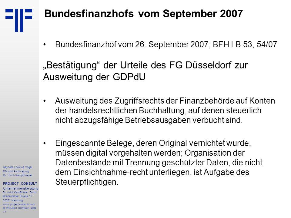77 Keynote Looks & Vogel DM und Archivierung Dr. Ulrich Kampffmeyer PROJECT CONSULT Unternehmensberatung Dr. Ulrich Kampffmeyer GmbH Breitenfelder Str
