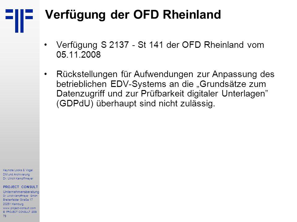 79 Keynote Looks & Vogel DM und Archivierung Dr. Ulrich Kampffmeyer PROJECT CONSULT Unternehmensberatung Dr. Ulrich Kampffmeyer GmbH Breitenfelder Str